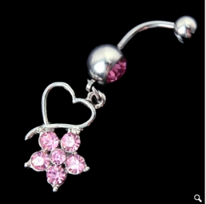 1 Pcs New Flower Rhinestone Heart Navel Belly Button Barbell Ring Body Piercing Dangle Crystal