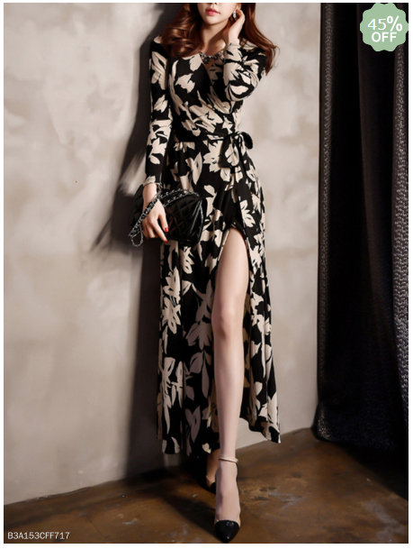 Surplice Slit Belt Printed Maxi Dress