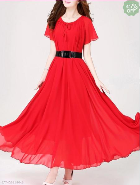 Round Neck Bowknot Plain Maxi Dress
